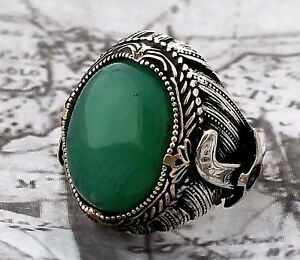 Solid 925 Sterling Silver Mens Ring Green Agate Gemstone Turkish Ottoman 17gr