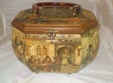 Vintage Anton Pieck Dutch Artist 3 D Decoupage Bakelite Handle Wood Handbag