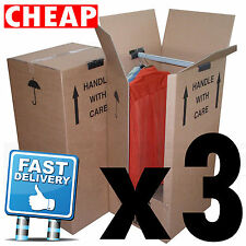 3 Large Garment Wardrobe Cardboard Moving Boxes 24hrs