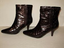 """Cato Womens Ankle Fashion Boots Zipper Side Brown Shiny Size 7M 3"""" Heel A36"""