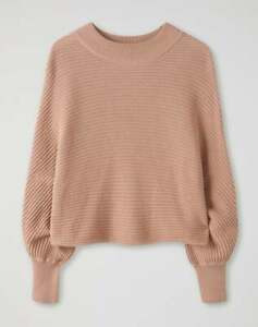 Pure Collection Textured Batwing Crop Sweater -Warm Neutral UK Size 14 - RRP £99