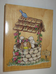"""Lilly Pilly Rubber Stamp Fairy Wishes Granted Wishing Well Bird Flowers Large 5"""""""