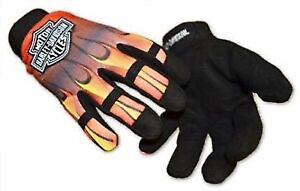 Harley Davidson Flame Work Gloves with Adjustable Wrist Band Size Small