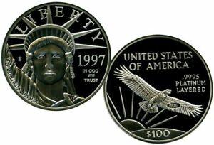 1997 $100 PLATINUM EAGLE ARCHIVAL EDITION COMMEMORATIVE COIN PROOF $99.95