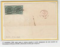 FRANCOBOLLI - 1856 STATO PONTIFICIO COPPIA 1 BAJ SU LETTERA C/6473