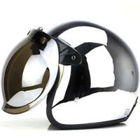 DOT Motorcycle Helmet Open Face w/Sun Visor Chrome Silver Scooter Cruiser Helmet