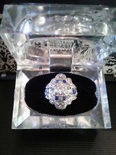 Ring; Faux Diamonds/Saphires; Size 7 Art Deco Style Silver Tone Alloy