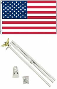 3x5 USA American 50 Star Flag w/ 6' Ft White Flagpole Flag Pole kit Eagle