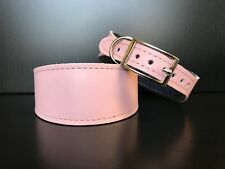 XS Leather Dog Collar LINED Greyhound Whippet Saluki RED WITH SHINY PATTERN