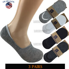3 Pairs Men Invisible No Show Nonslip Loafer Low Cut Solid Cotton Socks 9-13