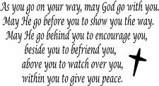 May God Go With You.. Wall Decal Foyer Entrance Dining Bath Bedroom Family Room