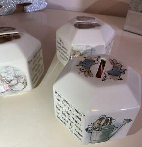 3 Wedgwood Beatrix Potter Hexagon Peter Rabbit Money Box With 2 Key Rings