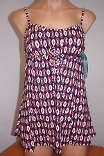 NWT Swim Solutions Swimsuit 1 one piece Size 10 Attached Dress NVY Santa Fe