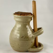 Vintage Stoneware Pickle Jar With Cork Lid And Tongs