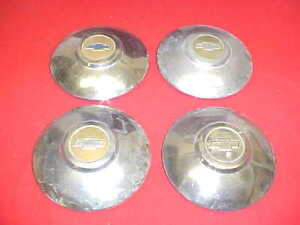 """1949 1950 CHEVROLET CAR 49 50 DOG DISH HUBCAPS 9.5"""" WHEEL COVERS GROUP LOT OF 4"""