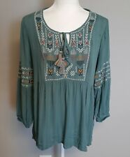 Knox Rose Boho Peasant Embroidered Indigo Long Sleeve Tassels Front Tie Size S