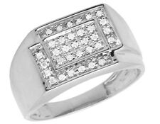 Men's 10K White Gold Square Genuine Diamond Engagement Wedding Ring 0.33ct 11MM