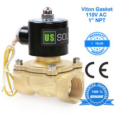 """U. S. Solid 1"""" Brass Electric Solenoid Valve 110 V AC Normally Closed"""