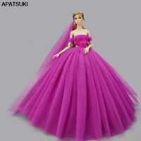 Wedding Dress Princess Evening Party Gown Dress Veil Outfits Clothes For Barbie