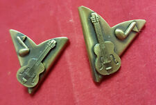 Fiddle Player Collar Tips. Bronze Color MINT Condition. Nice Violin Design