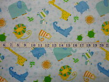 Jungle Buddies FLANNEL Blue Animal Toss Cotton Quilting Fabric 1/2 YARD