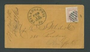 1863 #65 Rose Pink On Cover Dated Feb 18 From Phila Gorgeous