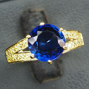 Sapphire Kashmir Blue Round 4.10Ct. 925 Sterling Silver Gold Ring Size 6.5 Women