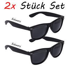 2 Stück Sonnenbrille 80er Nerd  Brille Schwarz Retro Atzenbrille Brillen UV 400