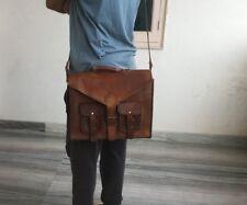 Newly Made Men Real Leather Vintage Messenger Shoulder Laptop Bag Briefcase
