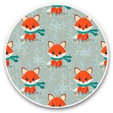 2 x Vinyl Stickers 30cm - Christmas Winter Ginger Fox Pattern  #44611