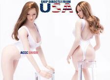 """1/6 Sexy Female One Piece White Bodysuit Swim Wear For 12"""" PHICEN Figure U.S.A."""