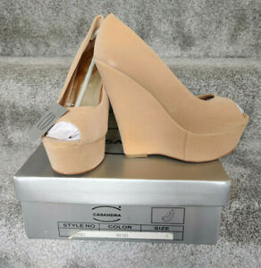 Nude Suede High Heel Platform Wedges Sandals Size 6 Core Collection