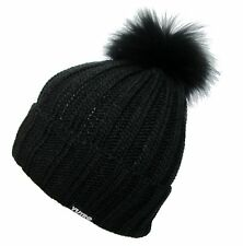 YUTRO Women's Fashionable Wool Winter Hat with Trendy Fox Pom BLACK CIT102E