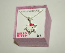 Hello Kitty Crystal & Silver Plate Jewelry Pendant New in Box Necklace