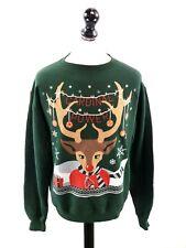 CHAMPION Mens Jumper Sweater M Medium Green Festive Christmas Cardinal Power