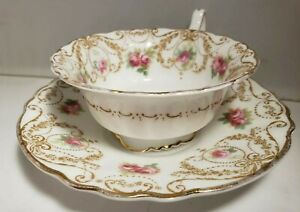 Vintage Royal Doulton Pink Roses Gold Trim Footed Teacup and Saucer