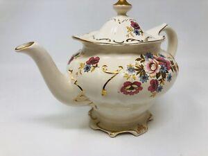 """Rare Vintage Sadler England Teapot #3658 Flowers Floral Ornate Gold Trim 6.5"""""""