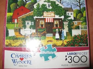 """Buffalo 300 large piece puzzle  by Charles Wysocki titled """"Small Talk"""""""