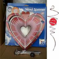 """10""""/25cm HEART Wind Spinner Spiral Tail Wind Chime Iron Stop Sun Catcher Hook"""