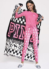 Nwt Pink Victoria'S Secret Pink Cozy Fleece Black Throw Blanket Snowflake