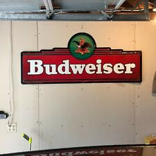 1994 Anheuser Busch Budweiser Embossed Metal Sign 60x26 Bar Man Cave Garage