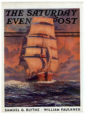 Rare Original VTG 1932 Saturday Evening Post Tall Ship Sea Cover Only Art Print