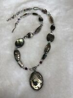 """#443B Vintage Abalone Sterling Silver Pendant,Bench Bead Necklace 20"""" Stunning"""