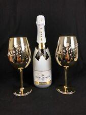 Moet Chandon Ice Imperial Champagner 0,75l 12% Vol + 2 Glas Gold Kelch Gläser