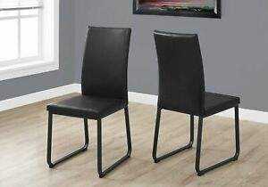 """Two 38"""" Black Faux Leather and Metal Dining Chairs"""