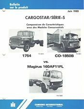 INTERNATIONAL VINTAGE S-SERIES COMP COMPARE TRUCK  PRODUCT BULLETIN 1980 (FR) X