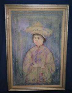 Vintage Edna Hibel Litho Oil Painting on Silk THE LITTLE EMPEROR Large Signed