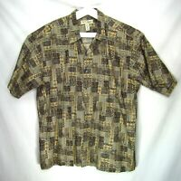 Vintage Tori Richard Mens Hawaiian Shirt Aloha Camp Cotton Lawn Size 2XL Block