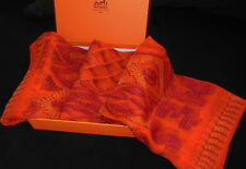 "HERMES châle ""KELLY EN PERLES"" Foulard mousseline orange silk Shawl scarf Hermes"