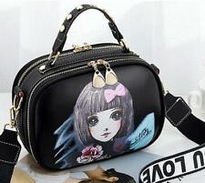 Picture Printed Square Hand Bag - Black/Purple (LSG071050)